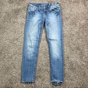 Miss Me skinny light wash jeans w/ bling detail 27